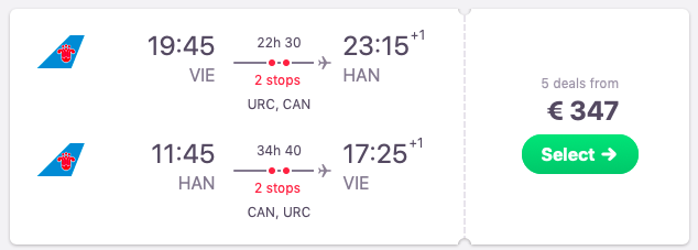 Flights from Vienna, Austria to Hanoi, Vietnam
