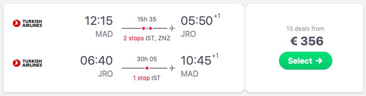Full-service flights from Madrid to Kilimanjaro, Tanzania