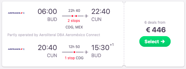 Flights from Budapest to Cancun, Mexico