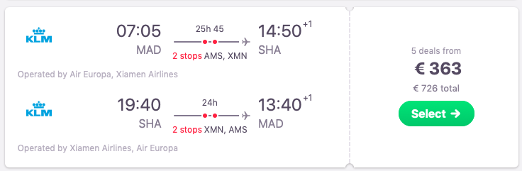 Flights from Madrid to Shanghai, China