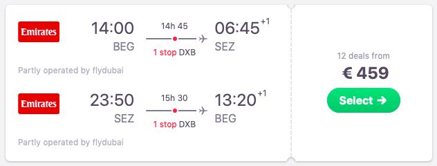 Flights from Belgrade, Serbia to Seychelles
