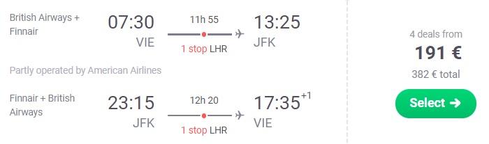 cheap flights vienna new york