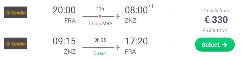 Cheap flights from Frankfurt Germany to ZANZIBAR