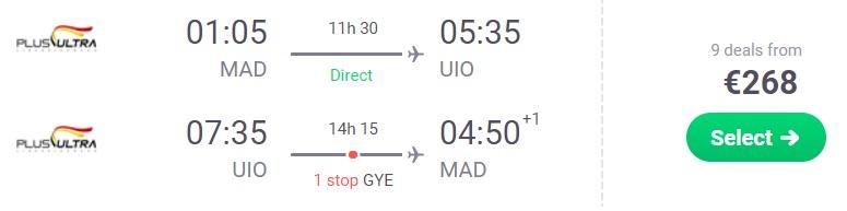 Cheap flights from Madrid Spain to ECUADOR