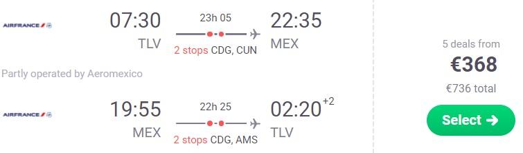 Cheap flights from Tel Aviv Israel to MEXICO