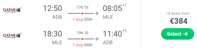 Cheap flights to MALDIVES from Izmir Turkey