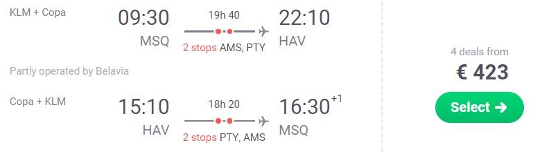 Flights from Minsk to HAVANA CUBA