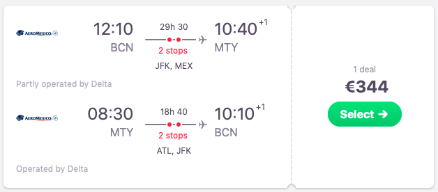 Flights from Barcelona to Monterrey, Mexico