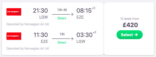 Flights from London to Buenos Aires, Argentina