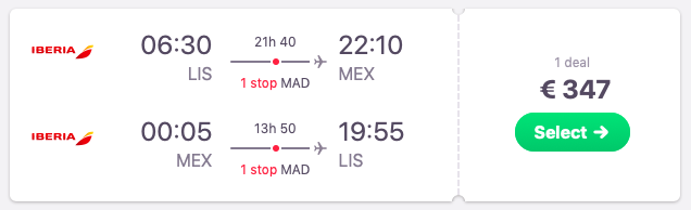 Flights from Lisbon to Mexico City
