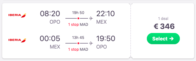 Flights from Porto to Mexico City