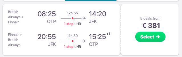 Flights from Bucharest to New York City