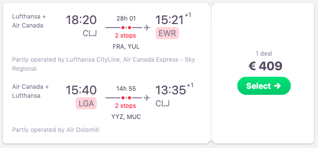Flights from Cluj Napoca to New York