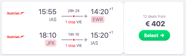 Flights from Iasi to New York