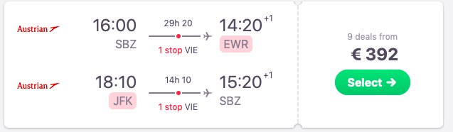 Flights from Sibiu to New York