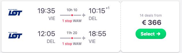 Full-service flights from VIenna, Austria to New Delhi, India