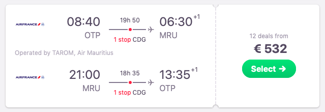Flights from Bucharest, Romania to Mauritius