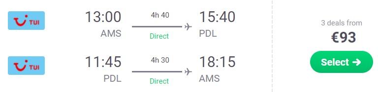 cheap flights amsterdam azores
