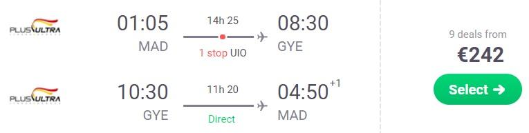 cheap flights madrid spain to ecuador