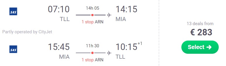 cheap flights tallinn miami