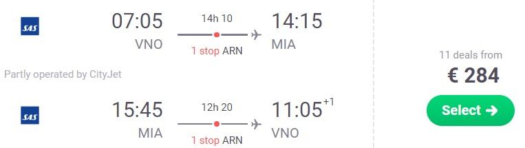 cheap flights vilnius miami