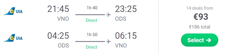 cheap flights vilnius odesa