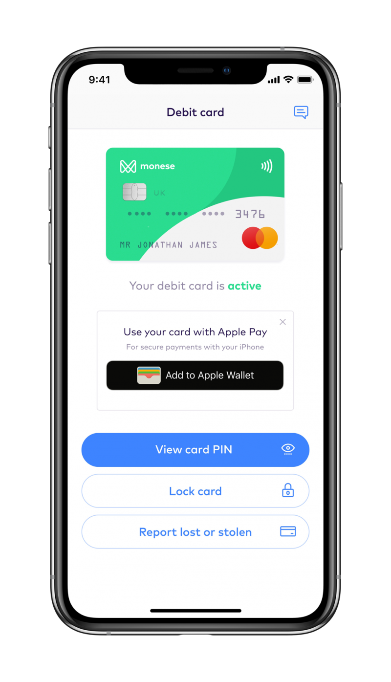 monese free bank card apple pay