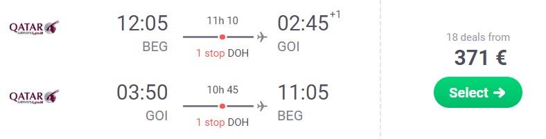 Cheap flights from Belgrade to GOA India