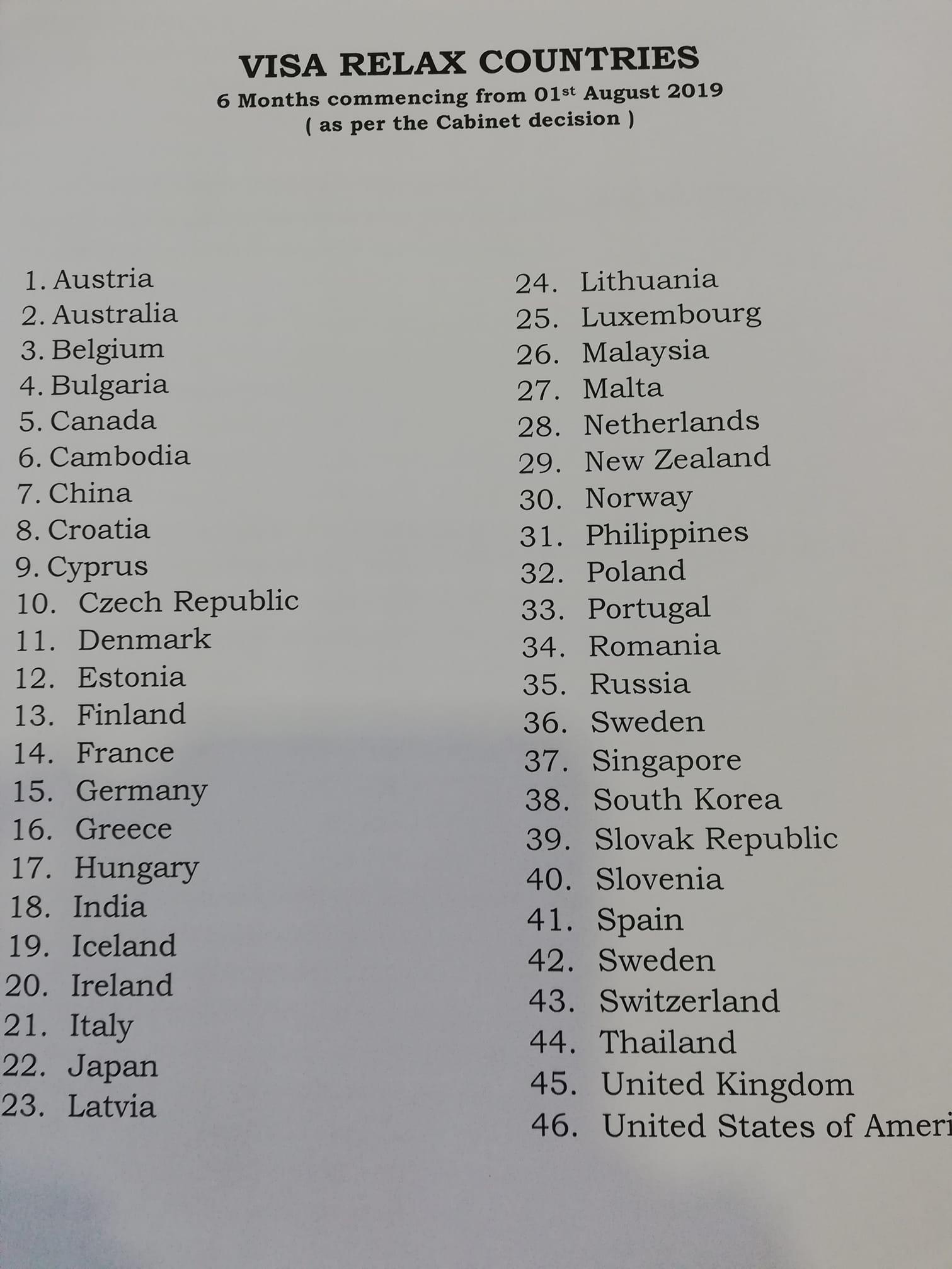 free visa Sri lanka