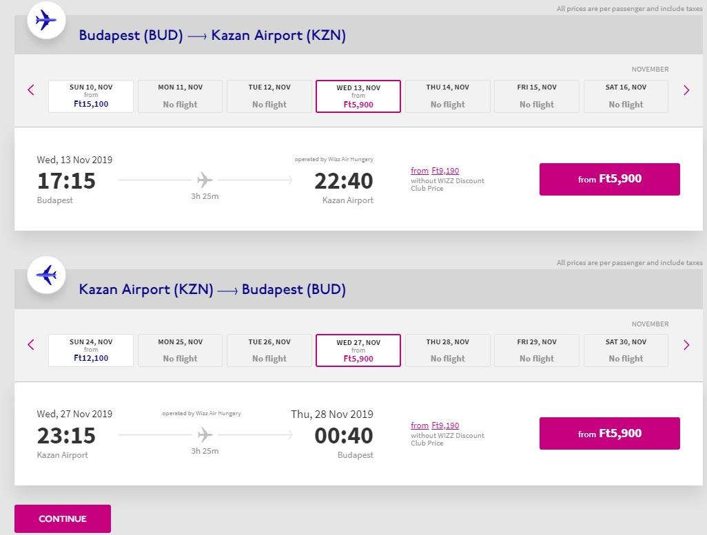 wizz air new route budapest kazan russia