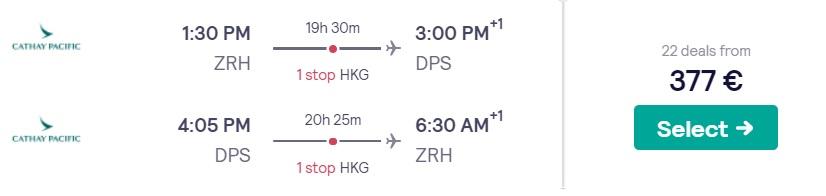 Cheap flights from Zurich to BALI