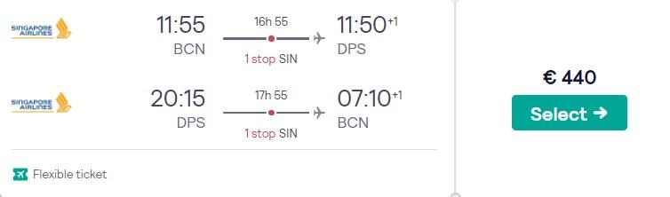 cheap flights barcelona bali
