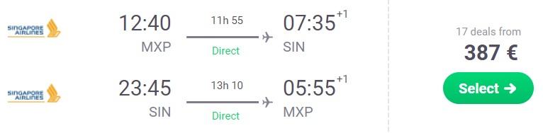 cheap flights milan singapore