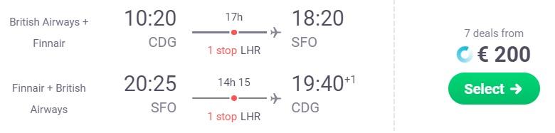 cheap flights paris san francisco