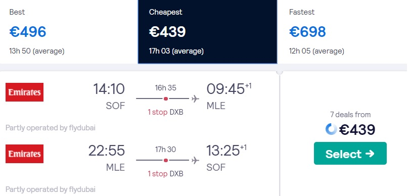 cheap flights sofia maldives