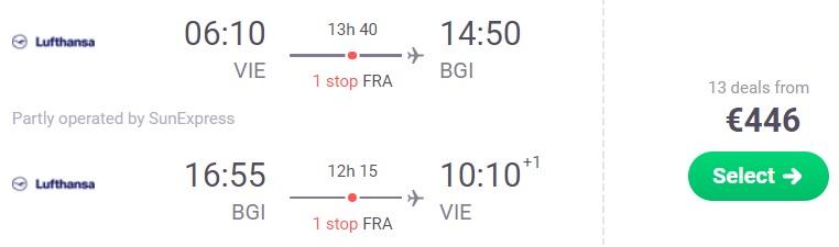 full service flights vienna barbados