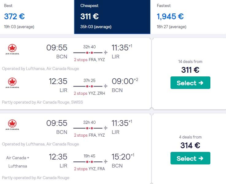cheap flights barcelona costa rica