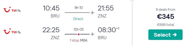 cheap flights brussels zanzibar