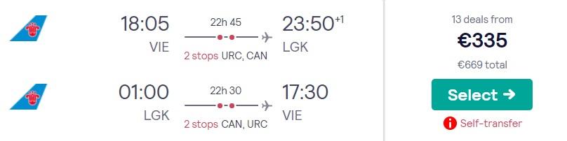 cheap flights vienna langkawi malaysia