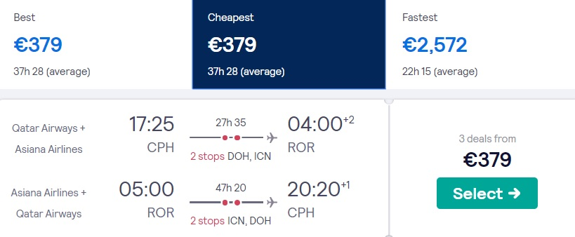 cheap flights copenhagen palau