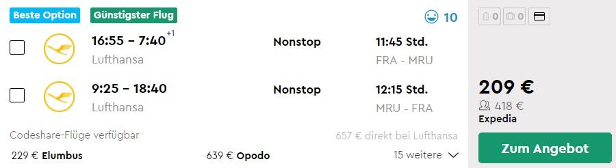 Flugzeiten Frankfurt Mauritius