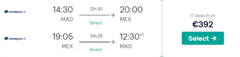 cheap flights madrid mexico city