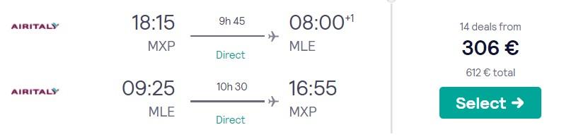 cheap flights milan maldives