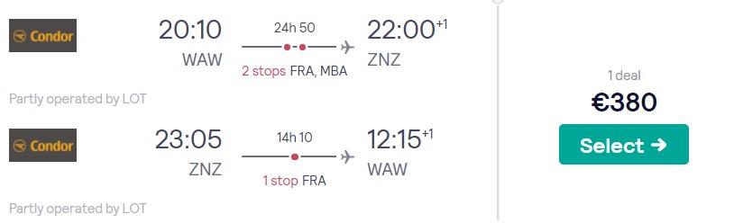 cheap flights warsaw zanzibar