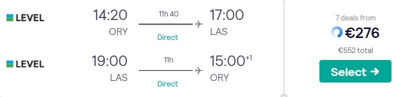 Direct flights from Paris to LAS VEGAS