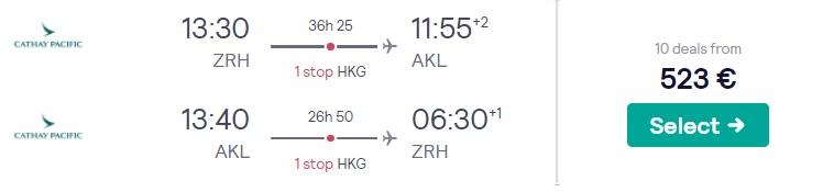 cheap flights zurich new zealand