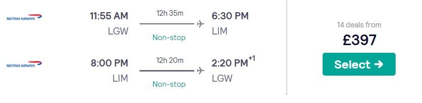 non stop flights london peru