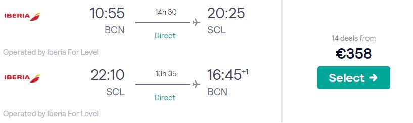 cheap flights barcelona chile