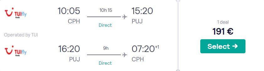 cheap flights copenhagen dominican republic