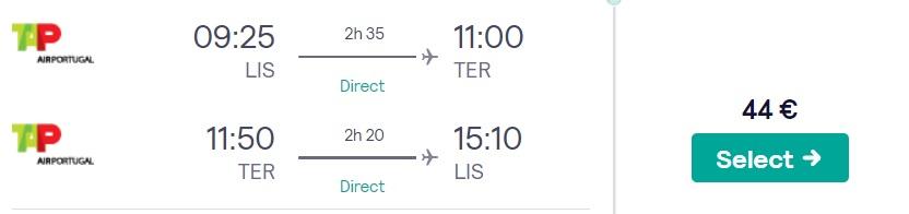 cheap flights lisbon azores